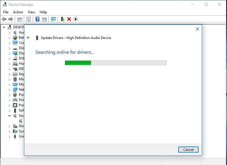 Use Device Manager to search for the necessary drivers online