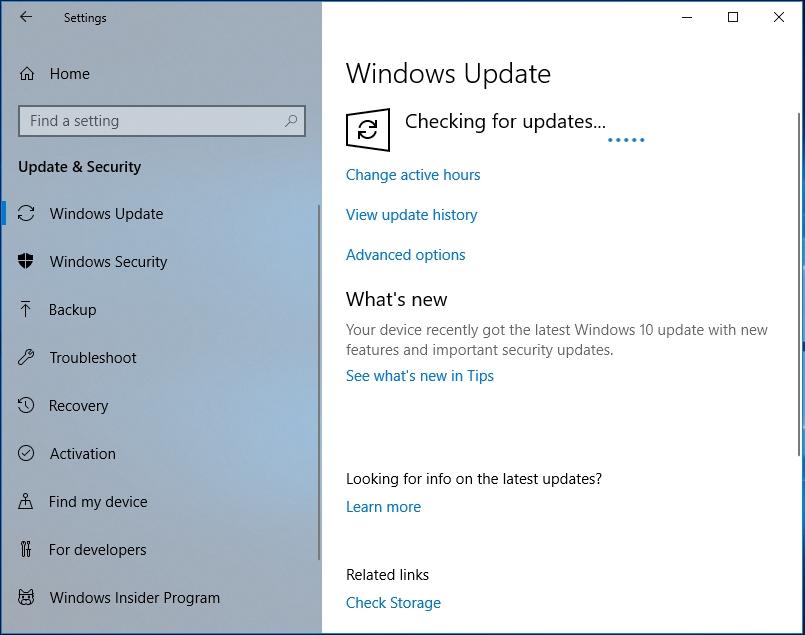 Wait until Windows Update finds the necessary updates.