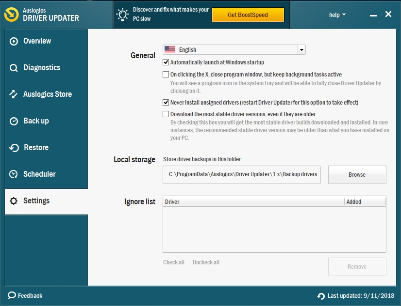 Configure Auslogics Driver Updater to update all your drivers.