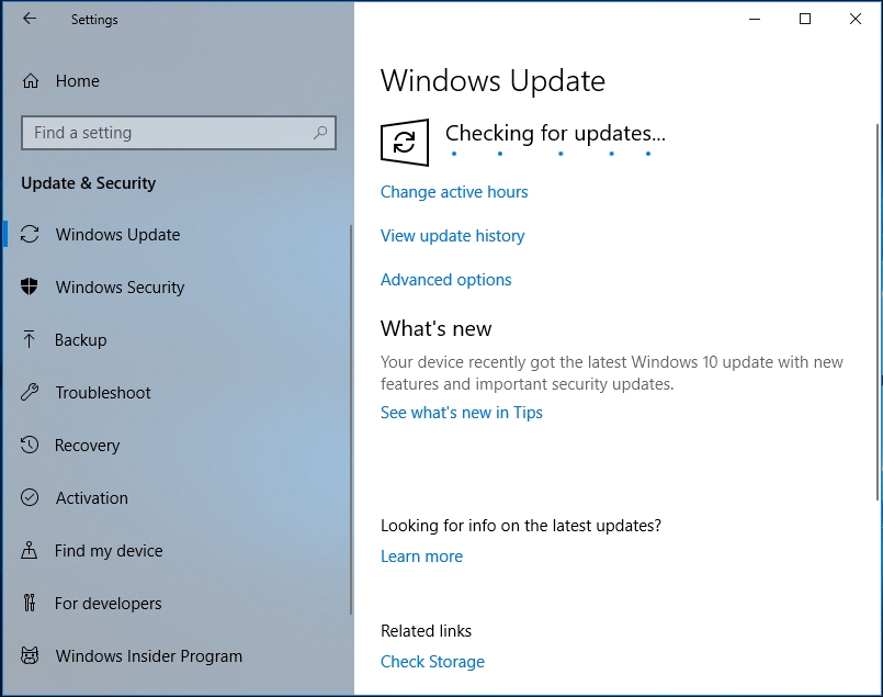 Wait until the check is finished and agree to install the available updates.