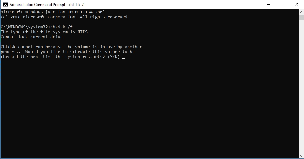 Type chkdsk /f and press Enter.