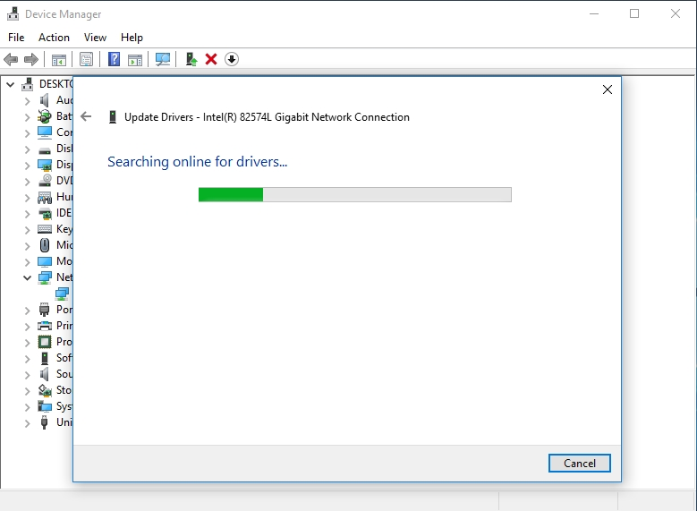 Update your network adapter driver via Device Manager.