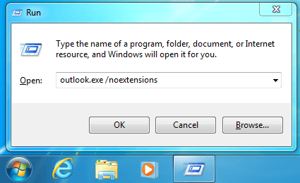 Type outlook.exe /noextentions.