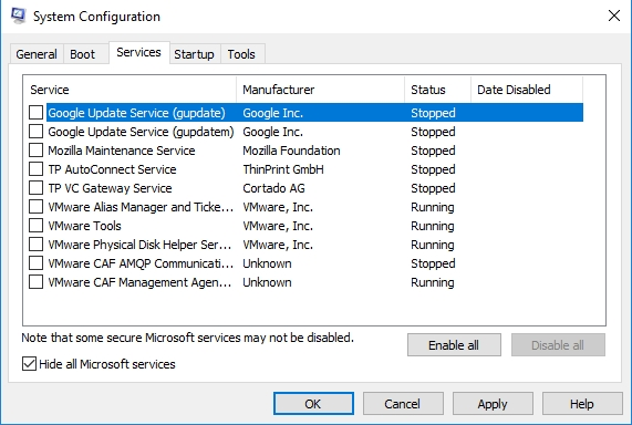 Hide all Microsoft services and disable all other services.