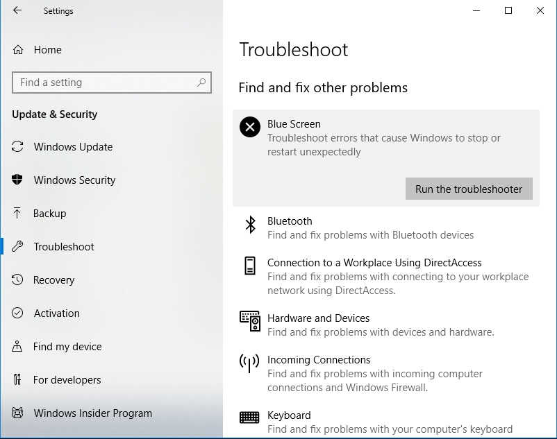 Click Run the troubleshooter under Blue Screen.
