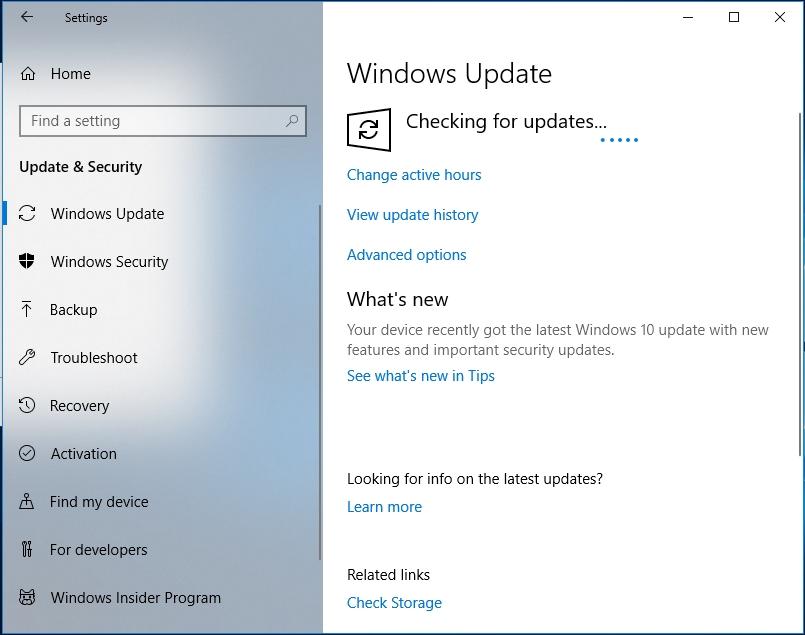 Wait until the latest updates arrive.