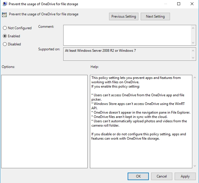 Under Prevent the usage of OneDrive for file storage, select Enabled.