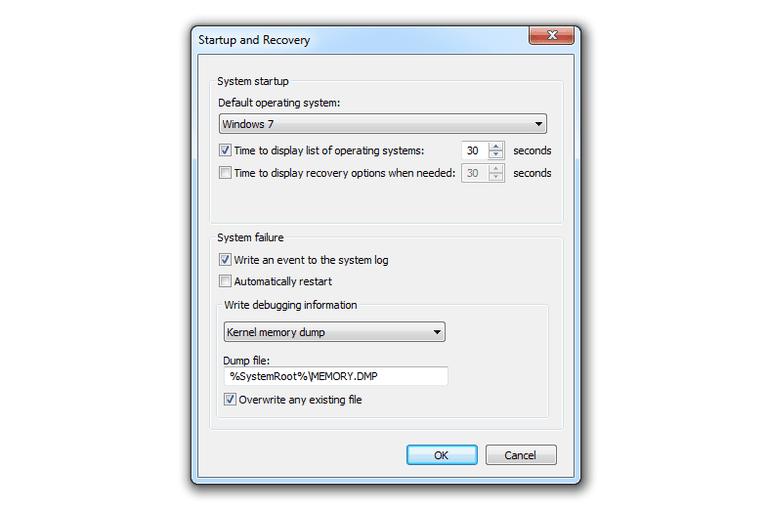 Uncheck Automatically restart.