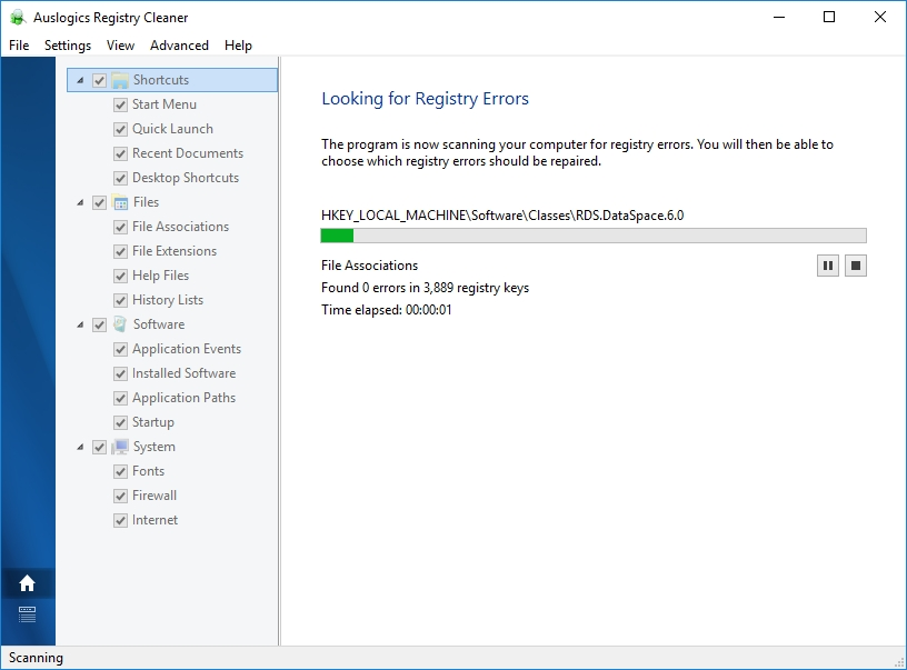 Look for registry errors to resolve them and improve your PC performance.