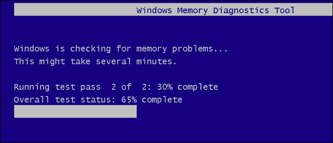 Wait until the Windows Memory Diagnostic Tool scan is over.