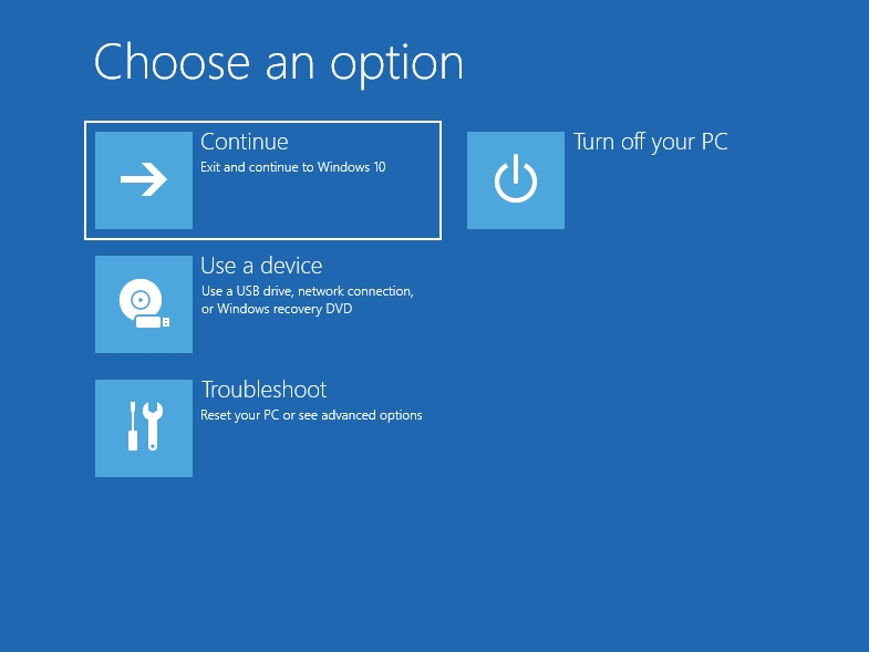 """The """"Choose an option"""" screen will show up."""