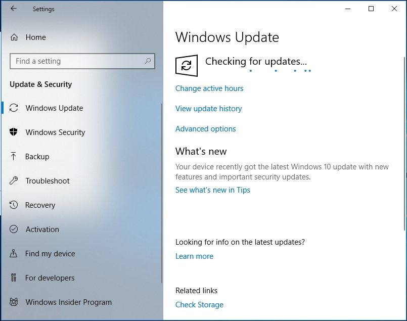 Wait until the necessary updates arrive.
