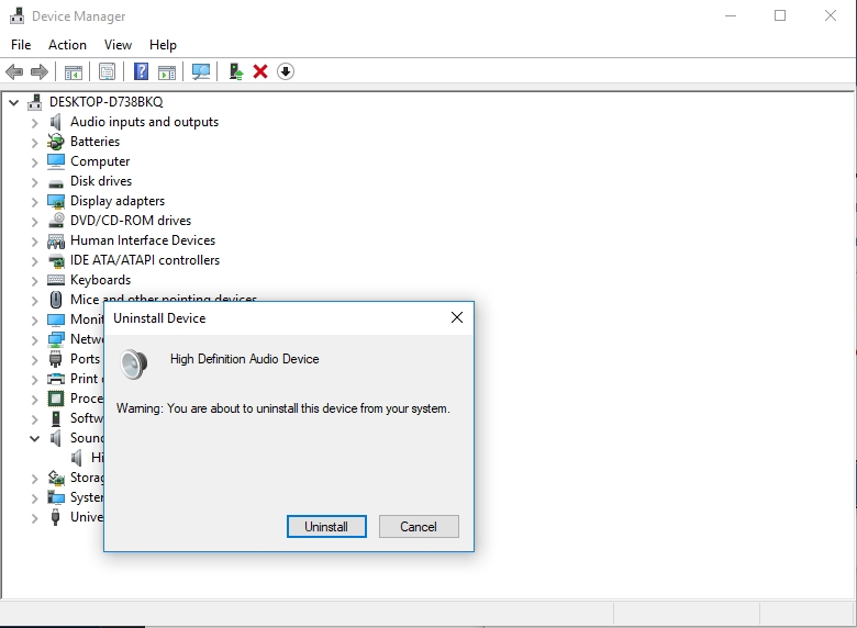 Click Uninstall to remove your audio device.