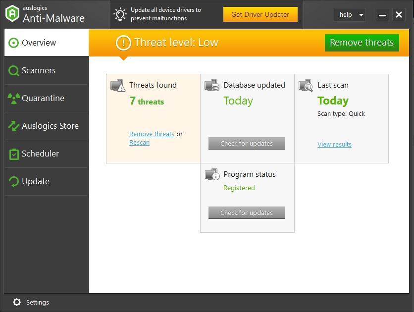 Locate threats and remove them using Auslogics Anti-Malware.