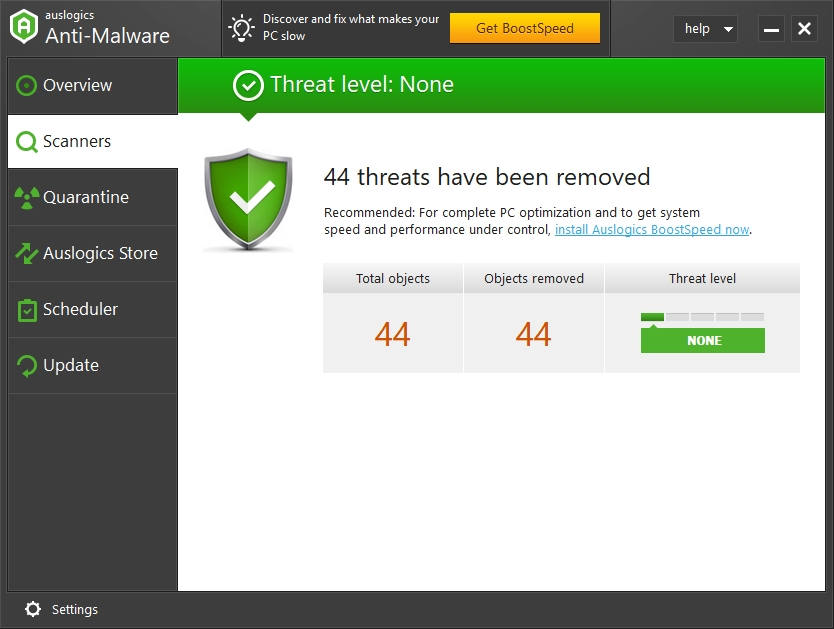 You can see how many threats have been removed from your PC.