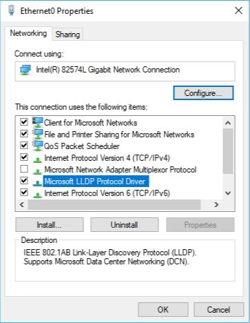 Check the box next to Microsoft Protocol LLDP Protocol Driver