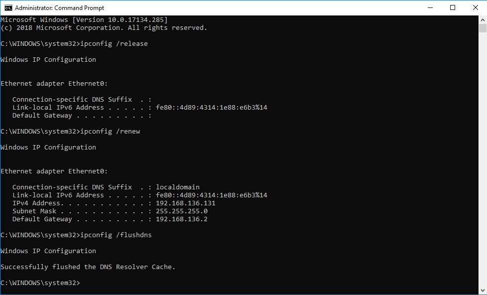Input ipconfig /flushdns and hit Enter to flush DNS