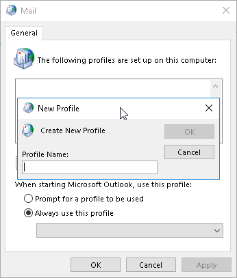 Create a new profile in Outlook