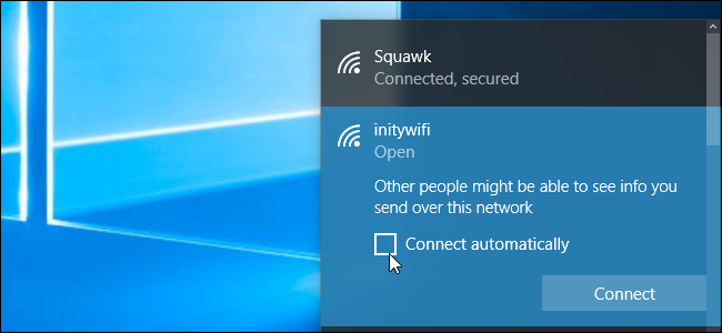 Uncheck connect automatically