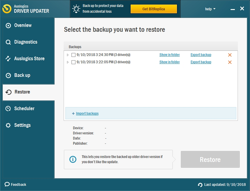 You can restore any of your backups.