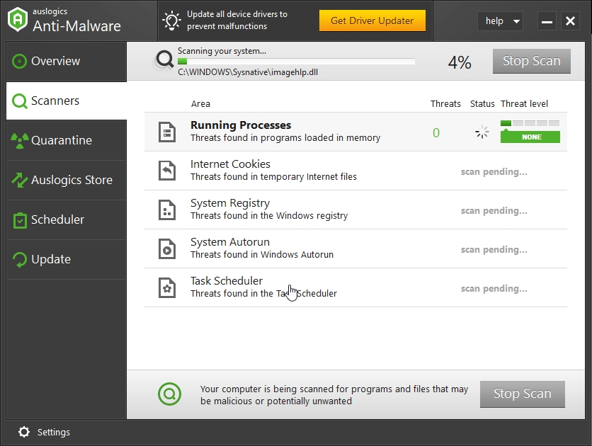 Scan your PC for malware with Auslogics Anti-Malware.