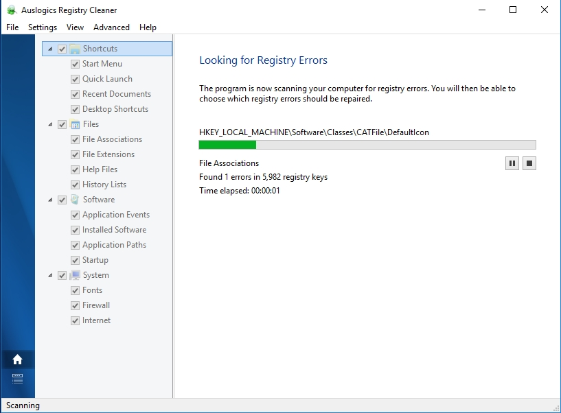 Search for registry errors in your system.