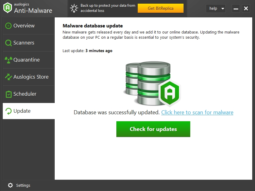 Click Check for updates to update your anti-virus database.