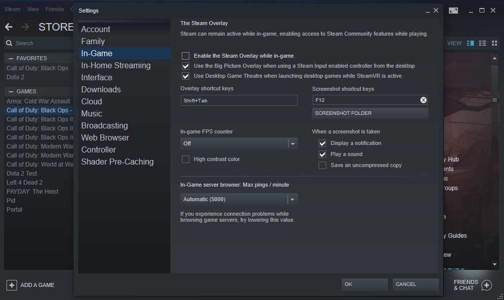 Uncheck the Enable the Steam Overlay while in-game box.