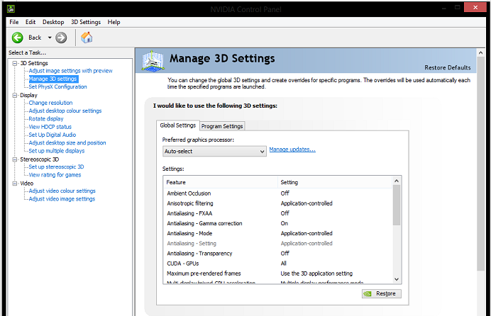 Click Manage 3D settings
