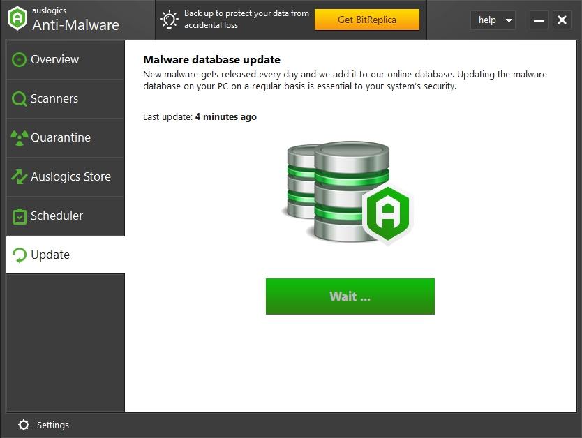 Auslogics Anti-Malware has its antivirus definition regularly updated.