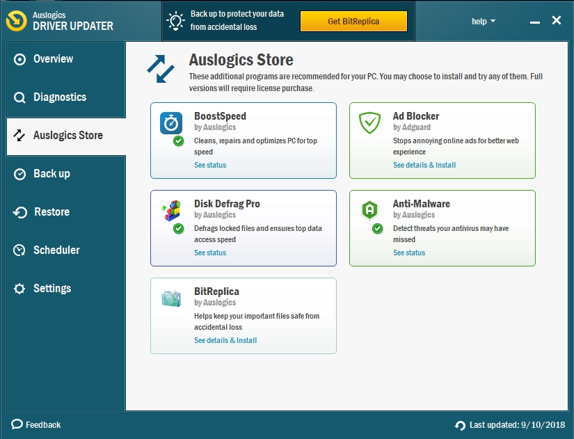 Visit Auslogics Store to find what can help you improve your OS.