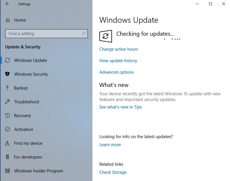 Wait until Windows finds the necessary updates.