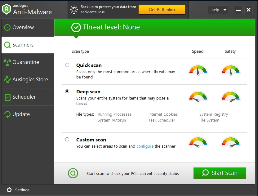 Conduct a thorough scan with Auslogics Anti-Malware