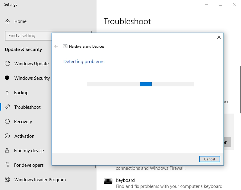 Wait until the troubleshooting process is over.