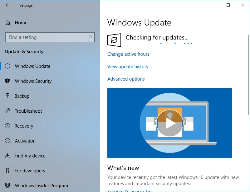 Windows will check if there are any updates available
