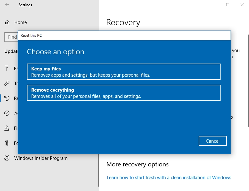 Restore your system to a previous state.