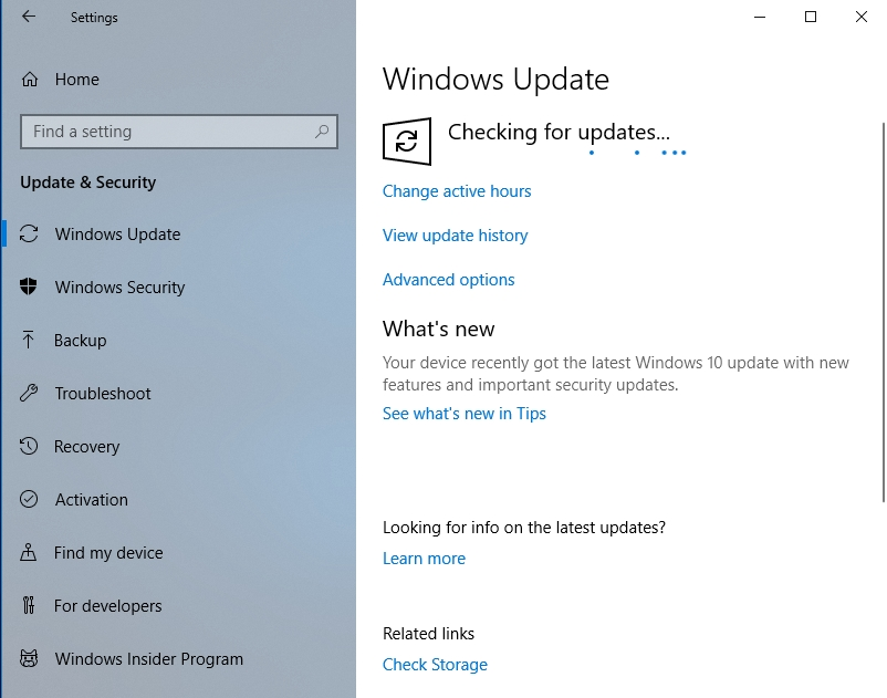 Wait until your system checks for available updates