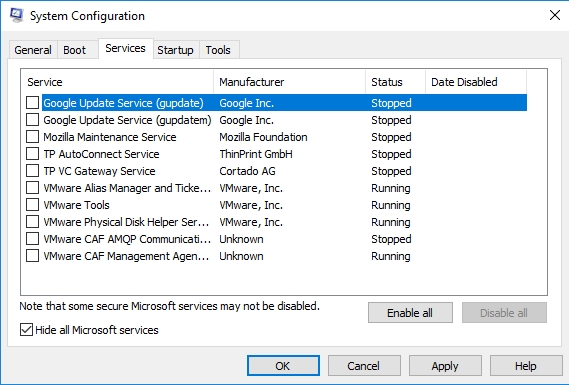 Select Hide all Microsoft services.