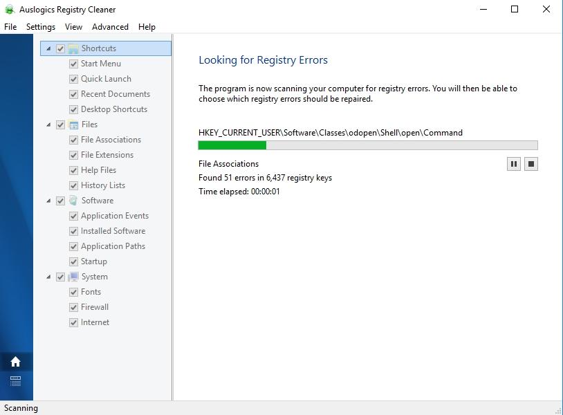 Let Auslogics Registry Cleaner look for registry errors in your system.