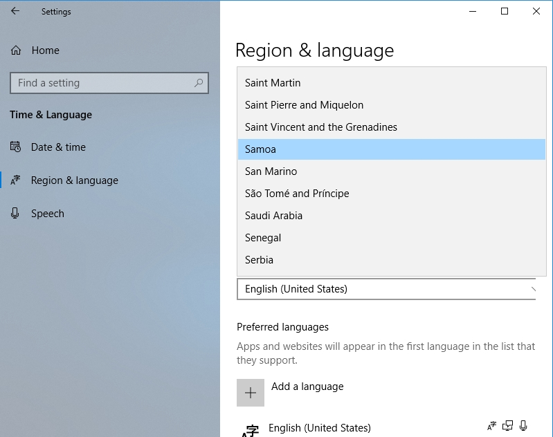 Select your Region and Language.