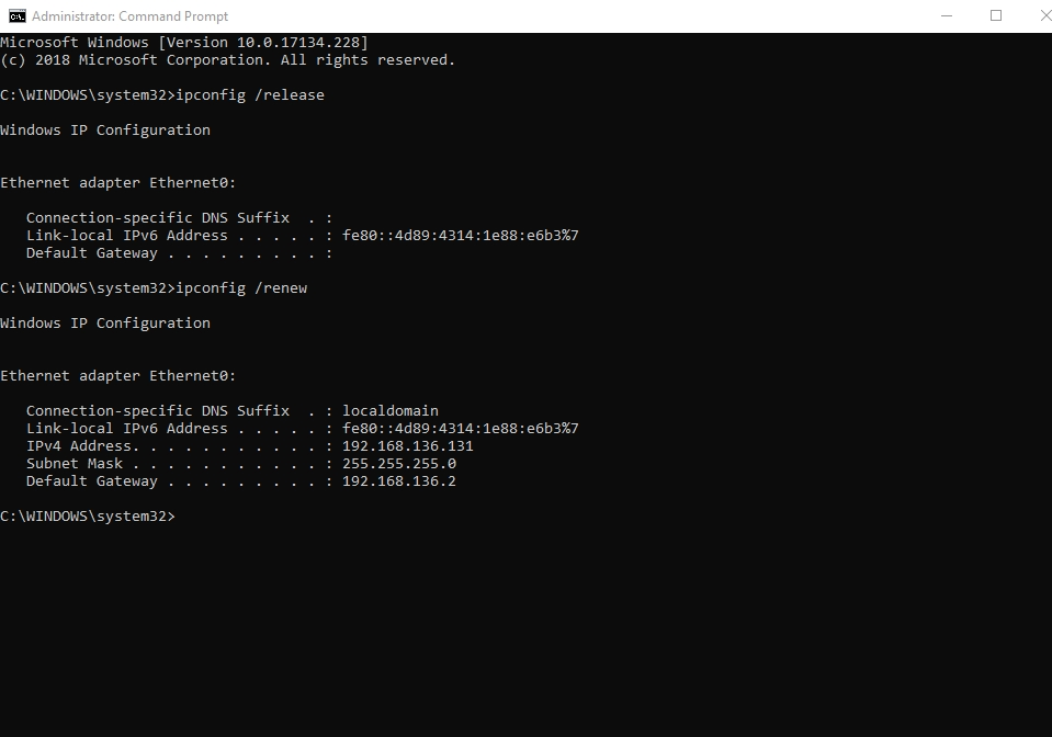 Reset your IP via Command Prompt