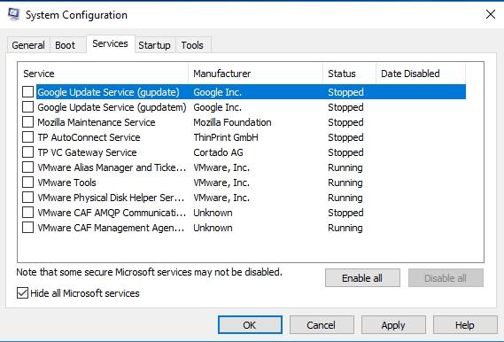 MAke sure to check Hide all Microsoft services.