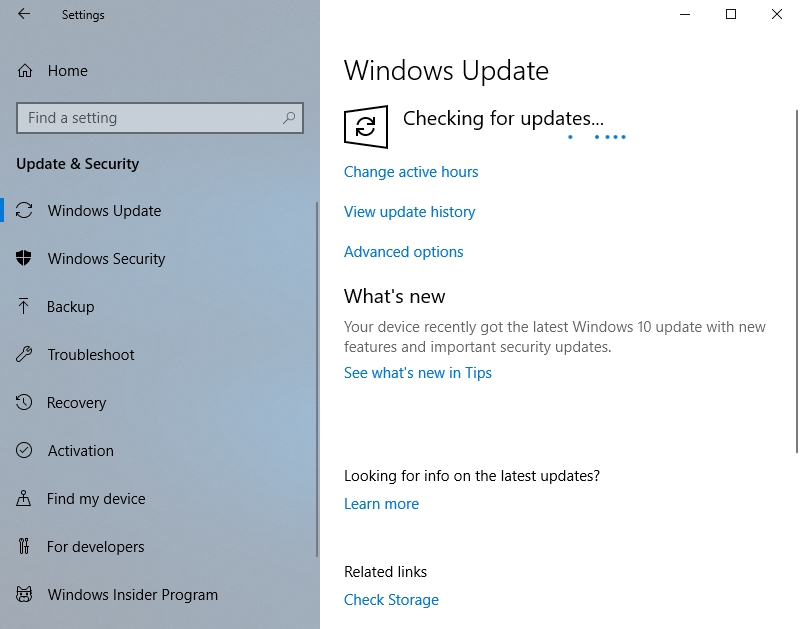 Windows Update will check for all the necessary fixes and developments.