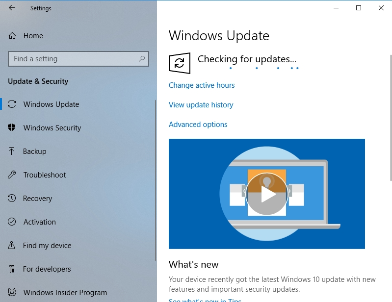 Windows will check for available updates.