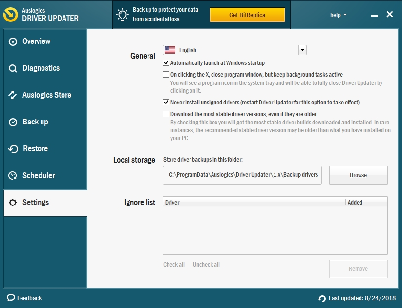 Configure Auslogics Driver Updater to resolve all your driver issues.