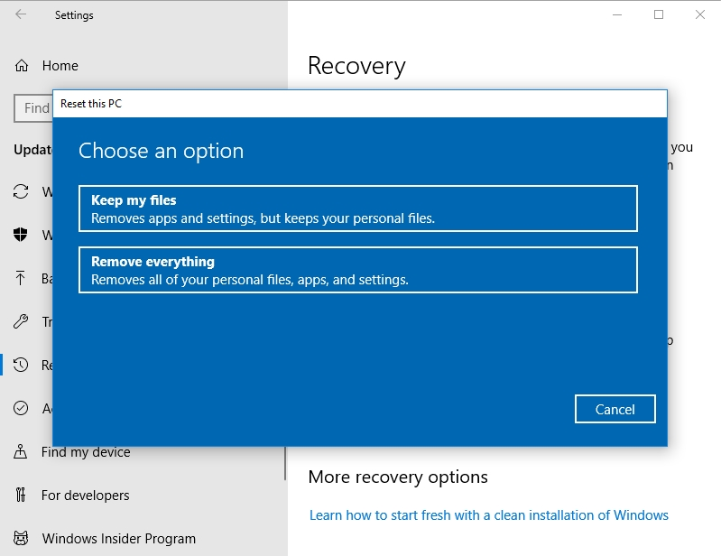 Select Keep my files or Remove everything