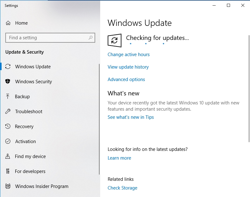 Windows will check for updates for you