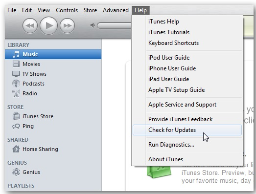 Click the Help tab in iTunes
