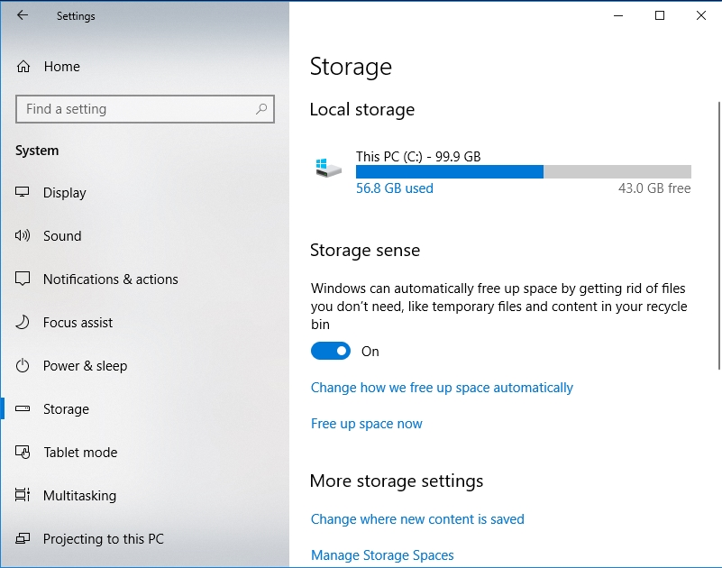 Toggle Storage sense to on.