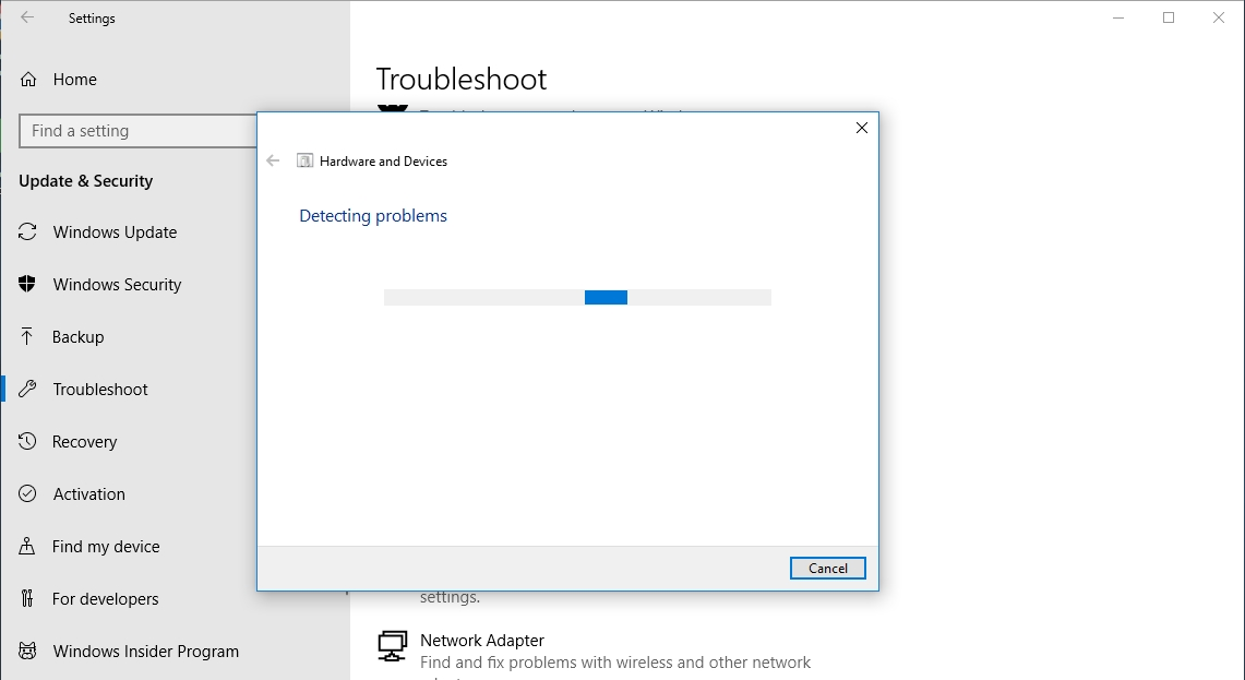 Troubleshoot your hardware and devices with the built-in Windows troubleshooter.
